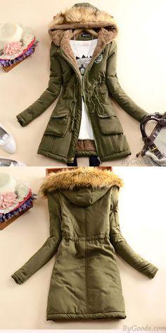 Slim Wool Hooded Long Winter Cotton Coat for big sale. Ready for the winter. #winter #coat #jacket #long #wool #women