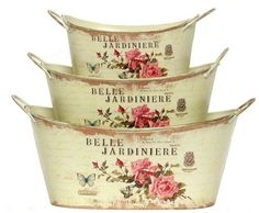 """Belle Jardiniere Decoupage Tin Cache Pot Set of 3 - Large = 11 1/2""""x6 3/4""""x5 1/4""""H by Traders and Company, http://www.amazon.com/dp/B005SQZGWS/ref=cm_sw_r_pi_dp_1IZyqb036S2JR"""