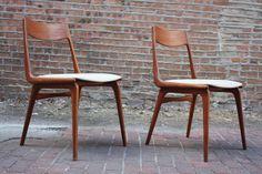 """Danish Mid Century Modern Erik Christensen """"Boomerang"""" Chairs for Slagelse Mobelvaerk (Denmark, 1950's)"""
