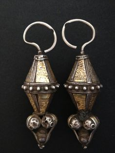 Silver and gold leaf earrings/head ornaments, Oman