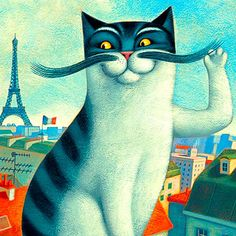 PAOLO DOMENICONI~ French - Cat - Art - Illustrations - Paris