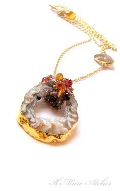 Druzy Agate Geode pendant necklace with Garnet Citrine Spinel | Ilmare - Jewelry on ArtFire