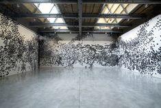Black Cloud: Carlos Amorales Adorns Gallery Walls with Thousands of Black Paper Moths