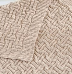 Knitting Pattern Easy Double Basketweave Baby Blanket - Easy blanket uses just knit and purl stitches and is reversible with different interesting textures on either side. by roseann