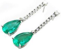 Emerald dangle earrings pear shaped with Colombian emeralds