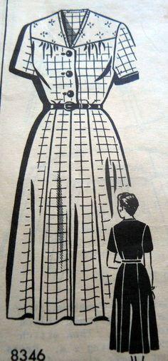 Lovely Vtg 1950s Dress Sewing Pattern Bust 35, Pattern 8346 Vintage Patterns, Sewing Patterns, Dress Sewing, 1950s, Collection, Dresses, Fashion, Vestidos, Moda