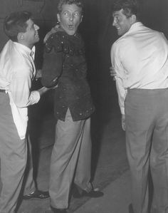 Danny Kaye visits Dean and Jerry on the set of Artists and Models 1955.