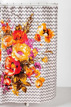 Brighten up your res bathroom with a colourful shower curtain!