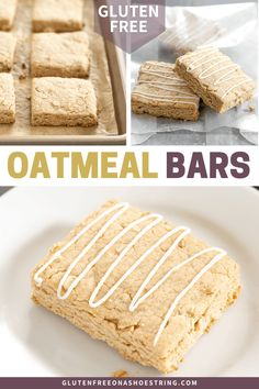 Brown sugar and cinnamon make these gluten free oatmeal bars like the very best oatmeal in a neat little to-go package. Gluten Free Recipes For Breakfast, Gluten Free Sweets, Gluten Free Breakfasts, Gluten Free Cakes, Gluten Free Cooking, Healthy Breakfasts, Healthy Snacks, Oatmeal Bars, Overnight Oatmeal