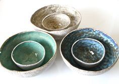** In Stock!** Hand formed salad bowl, organic shape with heart cut out, made out from slab of stoneware and hand painted in speckled mint, antic blue and olive on the inside and natural speckled on the outside. The bowls have an organic shape, not perfectly round, not perfectly oval, just in the middle. Measurement: 7 x 3 ==================== Only 1 Bowl available per color ==&#x...