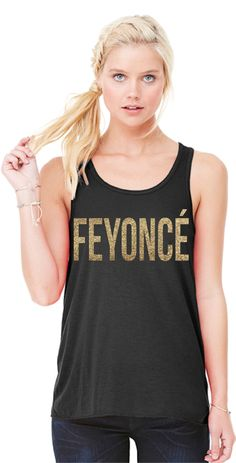 """Feyonce"" Racerback Tank Top for the Bride To Be Black Tank with Gold Glitter Graphic. Easy, drapey fit. Perfect for wearing to the gym, around town, or dress it up for your Bachelorette Party! For gr"