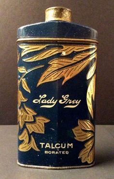 Antique Lady Grey Talc Talcum Powder Tin Can Container - Chicago - New York #LadyGrey