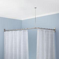 Signature Hardware 913110 60X30 60 X 30 Corner Shower Curtain Rod Brushed Nickel