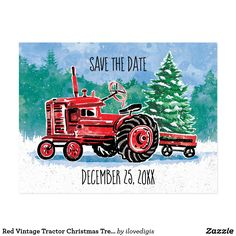 Red Vintage Tractor Christmas Tree Save the Date Postcard - christmas cards merry xmas diy cyo greetings