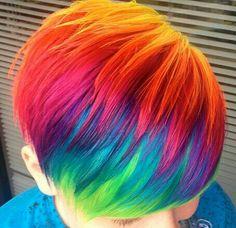 rainbow hair, Cute on her! not on me! lol pretty thoo!