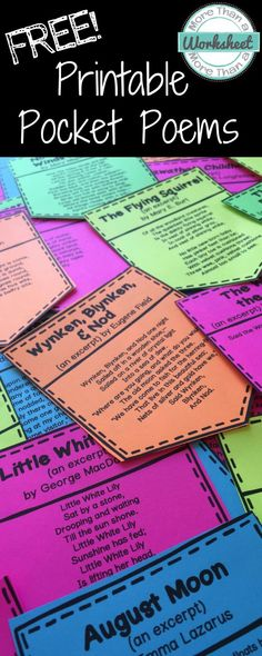 Free Printable Pocket Poems! Perfect for Poem in your Pocket Day or Poetry Month! 32 poems to print and use in your class. Grades 3 and up. From More Than a Worksheet