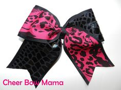 Berry & Black Cheer Bow by Cheer Bow Mama