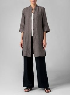 Linen Mandarin Collar Simple Long Blouse With Double Layers Pants Set