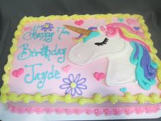 Unicorn Drawing cake! 10th Birthday, Unicorn Birthday Parties, Baby Birthday, First Birthday Parties, Birthday Ideas, Unicorn Cale, Unicorn Party, Birthday Sheet Cakes, Barbie Cake