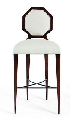 OCTAVIA   This tall, elegant stool, perfect for both cocktail counters and bistro tables, is elegantly styled with an Art Deco inspired octagonal back.
