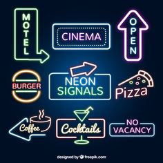 Set of neon signs Vector   Free Download