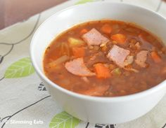 Slimming Eats - healthy delicious soups recipes - Slimming world, Weight Watchers, paleo, gluten free, dairy free Lentil Recipes, Soup Recipes, Diet Recipes, Cooking Recipes, Lentil And Bacon Soup, Lentil Soup, Slimming Eats, Slimming World Recipes, Healthy Eating Recipes