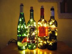 I've been saving wine bottles for something else, but I think I'll have to try this! All you need to make these beautiful wine bottle lights are an empty wine bottle, a string of Christmas lights (preferably LED Christmas lights), and a drill. Reuse Wine Bottles, Recycled Wine Bottles, Lighted Wine Bottles, Bottle Lights, Wine Bottle Crafts, Bottle Lamps, Empty Bottles, Liquor Bottles, Glass Bottles