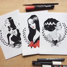 I added these 3 prints to the shop for a special Halloween sale ! They will be available until October 31st Sibylline.tictail.com