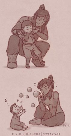 Korra + baby Rohan by ~K-Y-H-U on deviantART