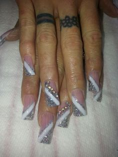 Long nails by Tonya Silver Nails, Glitter Nails, Acrylic Nail Designs, Nail Art Designs, Diamond Nail Art, French Acrylic Nails, Girls Nails, Nail Games, Types Of Nails