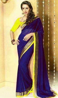 Marvelous Navy Blue Designer Saree Price: Usa Dollar $54, British UK Pound 32£, Euro40, Canada CA$58 , Indian Rs2916