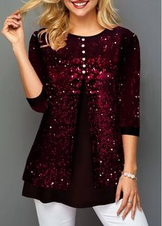 New Arrival | Liligal.com Trendy Tops For Women, White Maxi Dresses, Black Sequins, Plus Size Dresses, Trendy Fashion, Womens Fashion, Blazers, Tunic Tops, Red Button