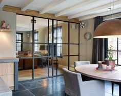 Wood and metal combinations create modern spaces Küchen Design, House Design, Interior And Exterior, Interior Architecture, Steel Doors And Windows, Modern Spaces, Home Fashion, Home Renovation, Interior Design Living Room
