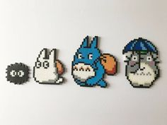 Made with high-quality perler beads, bring your love of Totoro to pixelated life. Dust: 3 x 2.75 White Totoro: 4 x 4.5 Blue Totoro: 5.5 x 6.75 Totoro with Umbrella: 4.5 x 6.25 *This item is ready made and will be shipped within 1-2 business days. Feel free to ask any questions and I