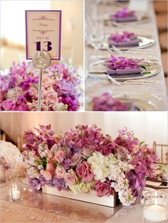 Gorgeous low Lavender pink and Ivory centerpieces of roses, hydrangea, stock and mokara orchids.