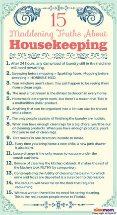 15 Maddening Truths About Housekeeping by Nicole  Leigh Shaw for @NickMom