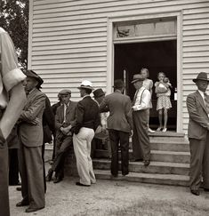 "July 1939. ""Congregation gathers after services to talk. Wheeley's [Wheeler's?] Church, Person County, North Carolina."" Medium-format nitrate negative by Dorothea Lange for the Farm Security Administration."