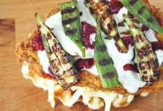 THE FRY BABY – CHICKEN AND WAFFLE GRILLED CHEESE WITH PICKLED CHERRIES + OKRA