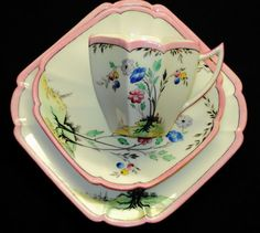 SHELLEY QUEEN ANNE TALL BLACK PINK TEA CUP AND SAUCER TRIO #ShelleychinaWilemanTheFoleychinaENGLAND