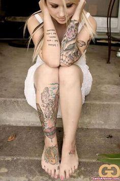 Anchor And Dagger Heart Women Leg And Sleeve Tattoo