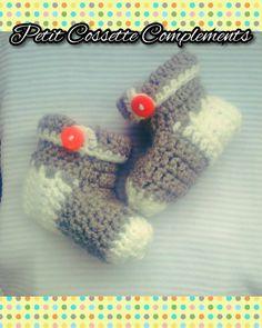 Handmade by Petit Cossette Complements. Zapatitos escarpines patucos, a juego con el set funny bunny para bebe recien nacido. Pueden hacer sus pedidos por telefono, correo o dejando su mensaje debajo de la foto