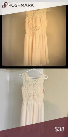 BCBGeneration Cream colored, wore as a bridesmaid dress. Various lace cutouts BCBGeneration Dresses Mini