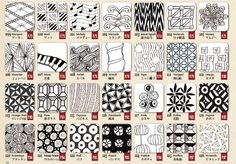 Zentangle Patterns For Beginners | Just combining the patterns will make the Zentangle very beautiful, so ...