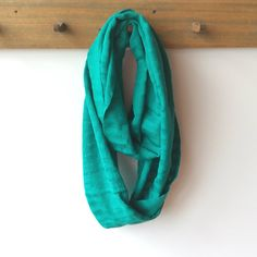 Turquoise Green Fair Trade Infinity Scarf, Handwoven, Cotton from Education And More