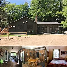 Balsam Cabin at the Woodlands Resort sleeps eight, with a cozy TV room for movie nights, a private fire ring for bonfires, and direct lake access for year-round fishing! Plan your family getaway today! #bookdirect #itscabintime #wisconsinresort
