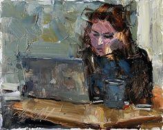 "396 Likes, 2 Comments - Alexander Schwarz (@alexanderschwarzart) on Instagram: ""CLYDE STEADMAN (I)  @clyde.steadman -  Finals. Alone in the coffee shop. #art #portrait #figure…"""