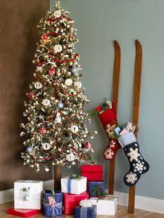On pinterest coat racks vintage ski and christmas stocking holders
