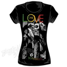 This black tee features Bob Marley and One Love. Bob Marley is pictured in four poses seperated by stripes. One Love is printed on the top and Bob Marley is printed on the bottom in the rasta colors of red, gold and green.