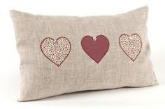 Sewing Cushions Three Hearts Cushion More - Crochet Cushions, Sewing Pillows, Scatter Cushions, Throw Pillows, Applique Pillows, Country Cushions, Sewing Crafts, Sewing Projects, Heart Cushion