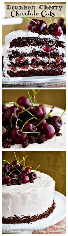Drunken Cherry Chocolate Cake - This cake is amazingly good; moist, chocolatey, boozy, and cherry-licious!